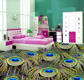 Peacock Bathroom 3d wallpaper floor 3D wall murals wallpaper floor Custom Photo self-adhesive 3D floor