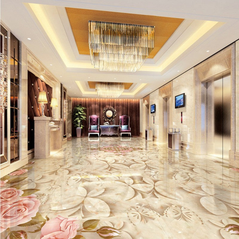 Free Shipping custom Marble tiles parquet flooring mural 3D stereo bedroom living room hotel Self-adhesive floor wallpaper