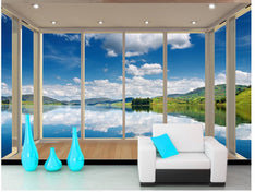 lake blue sky backdrop 3d wall murals wallpaper