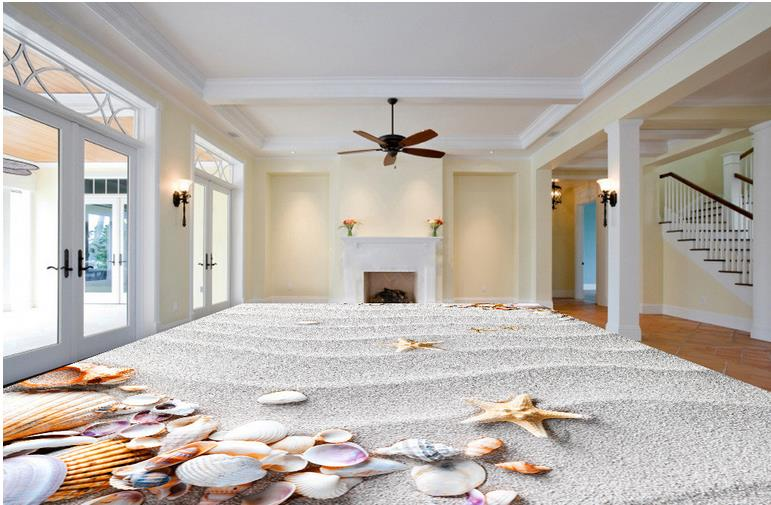 Floor Tiles Beach Shells Luxury Wall paper