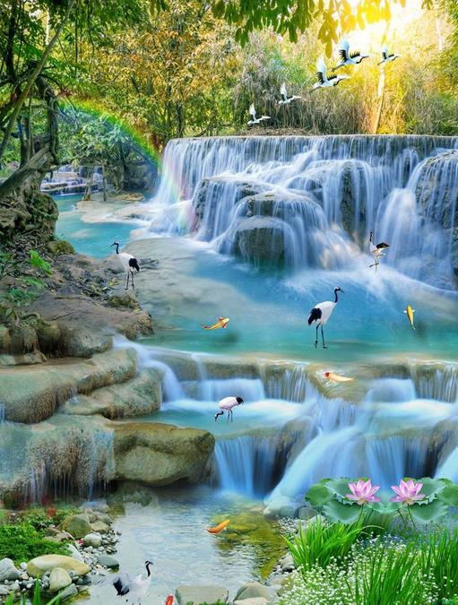 waterfalls lotus carp floor wallpaper