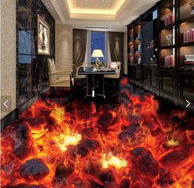 burning coals of fire floor wallpaper - Trivoshop