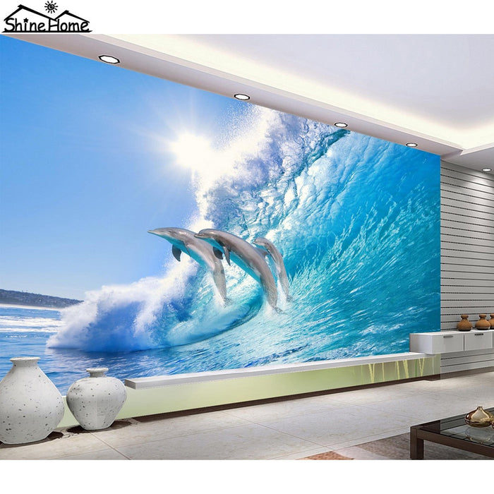 cool dolphin jumping in wave sea 3D Wallpaper