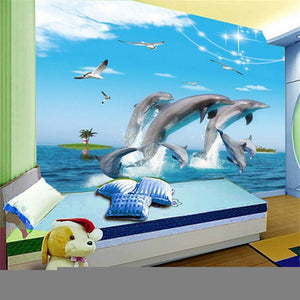 dolphin cartoon children room 3D wallpaper