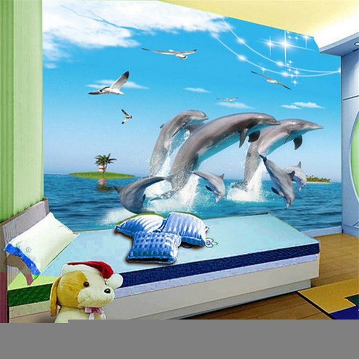 dolphin cartoon children room 3D wallpaper - Trivoshop
