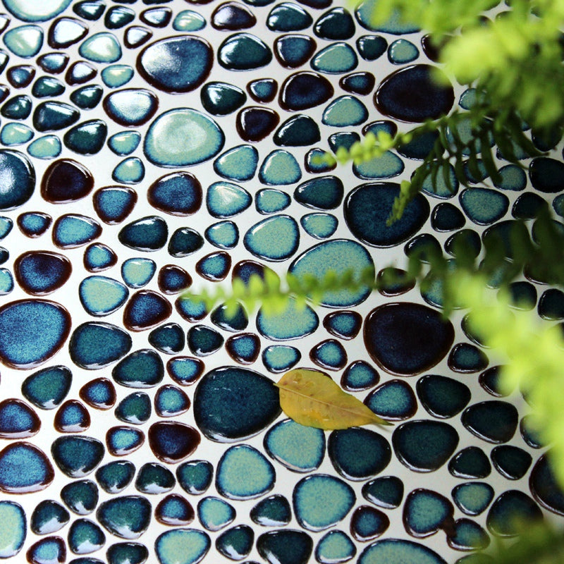 Porcelian Sea Blue pebble wall tile