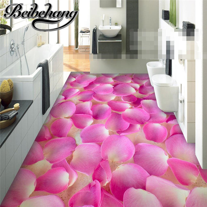 romantic pink petals non slip 3D Wallpaper