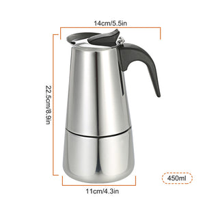 Homgeek 9/6/4/2 Cups Stainless Steel Espresso Percolator Coffee Maker Moka Pot Stove Top Coffee Maker Pot for Home Kitchen