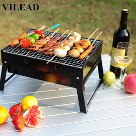 VILEAD Portable Barbecue Grill Electric Smokeless Korean Style Grill for Family Party Outdoors Picnic Grill Machine - Trivoshop
