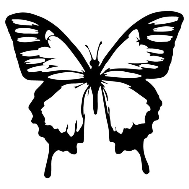 14.4*13.4CM Classic Butterfly Vinyl Car Stickers Cool Car Styling Decal Accessories Black/Silver S1-2910 - Trivoshop.com