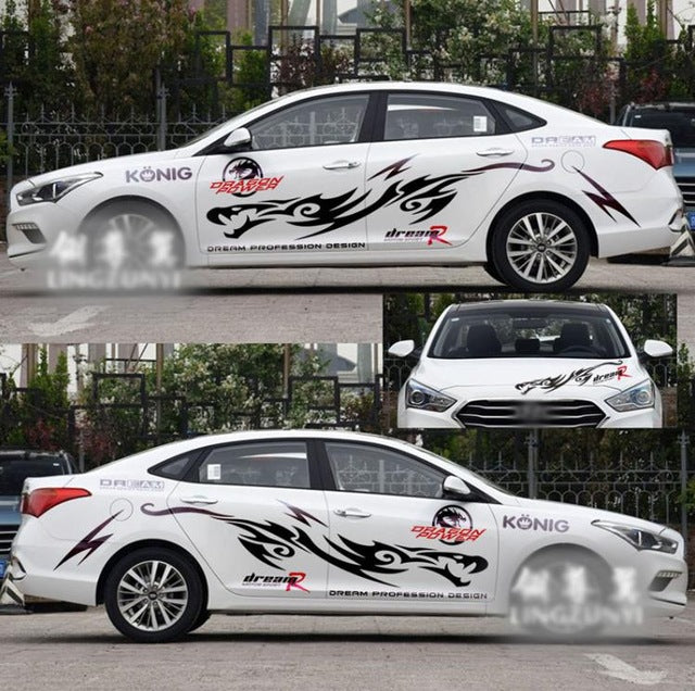 1 Set Car Styling Dragon Design Decals Full Body Stickers Car Personality Waterproof Automobiles Exterior Accessories - Trivoshop.com