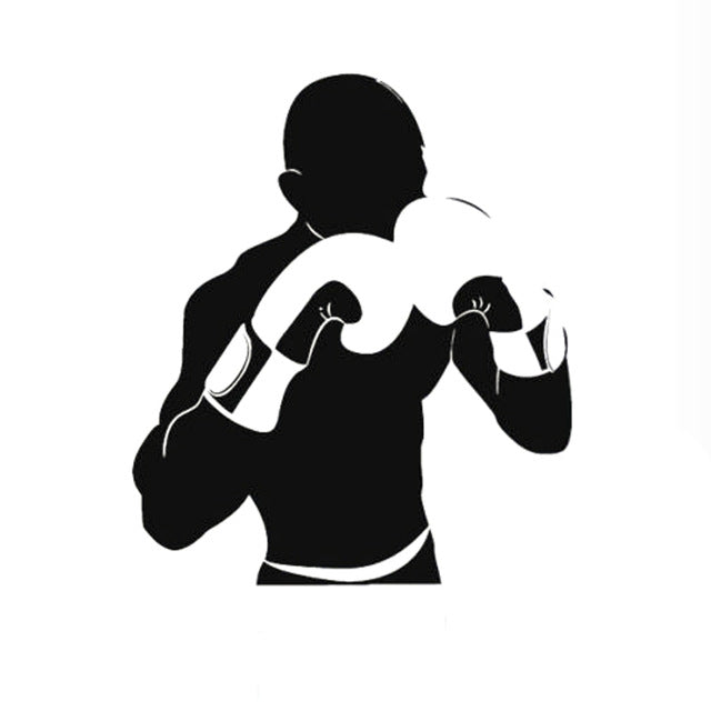 11.2CM*13CM Boxing Sports Fighter Vinyl Car Sticker Black/Silver S9-0561 - Trivoshop.com