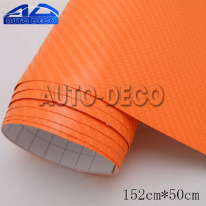 Orange 4D Carbon Fiber Vinyl Car Wrap Film for Hood Roof Motocycle Decal Color Change