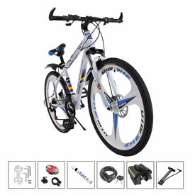 white bicycle bike 26'' 21 speed 3 knife integrated bike variable speed cycling double vibration damping brakes
