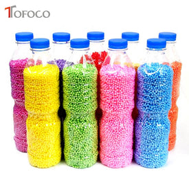 TOFOCO 500ml/Bottle DIY Snow Mud Particles Accessories Slime Balls Small Tiny Foam Beads For Floam Filler For DIY Supplies 2-4mm