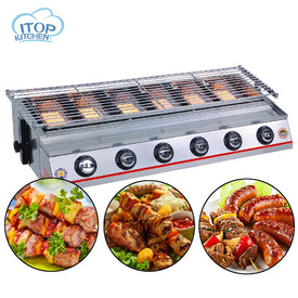 Stainless Steel 6 burners Gas BBQ Grill Barbecue Outdoor Picnic Baking Smokeless Garden Adjustable Height - Trivoshop