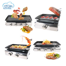 Overseas Warehouse Plancha BBQ Grill Gas Griddle 1/2/3/4 Burners Outdoor Machine Steak Vegetable Cooking Plate - Trivoshop