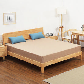 Home Bed Bedroom Furniture Home Furniture Nordic simple modern solid wood bed 1.5m/1.8m double bed with mattress& one nightstand
