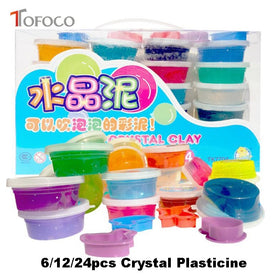 TOFOCO 6/12/24pcs/set Lizun Light Crystal Plasticine Intelligent Polymer Clay Slime Toys DIY Gum For Hands Colorful Clayey Tools