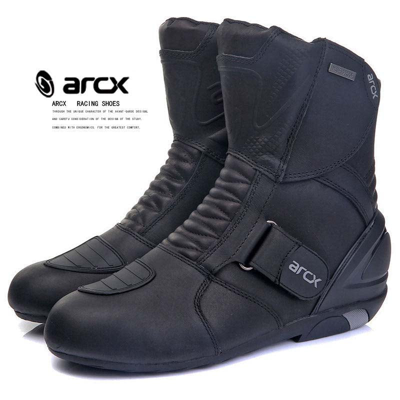 ARCX Motorbike Motorcycle Boots Real Leather Breathable Motocross Boots Waterproof Motor Bike Protector Gear Moto Shoes