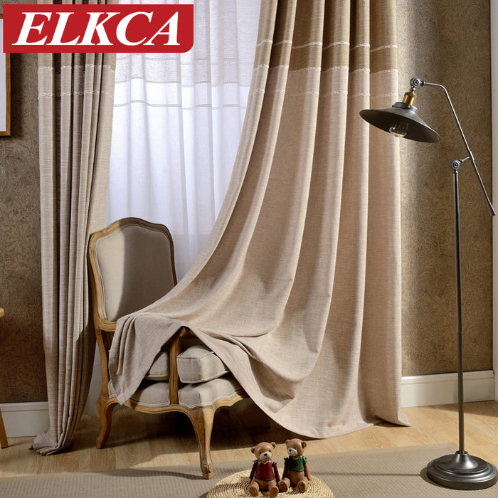 Japan Style Grey/Coffee Jacquard Thick Faux Linen Curtains for Living Room Window Curtains for Bedroom Modern Curtains for Kids