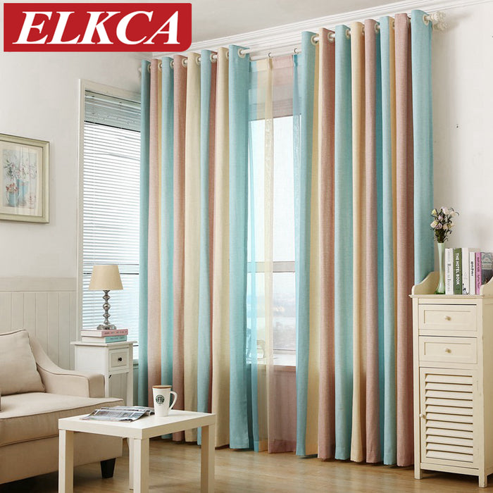 Striped Printed Window Curtains for the Bedroom Fancy Children Modern Curtains for Living Room Faux Linen Curtains for Kids