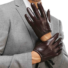 Genuine Leather Men Gloves Fashion Casual Sheepskin Glove Black Brown Five Fingers Short Style Male Driving Gloves M017PQ2 - Trivoshop