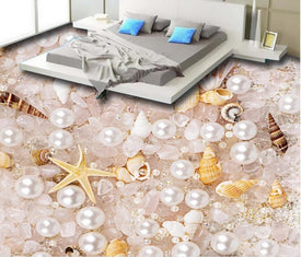 Trivoshop.com gorgeous 3d flooring mural wallpaper Pearl crystal shells 3d floor murals waterproof wallpaper for bathroom 3d floor painting