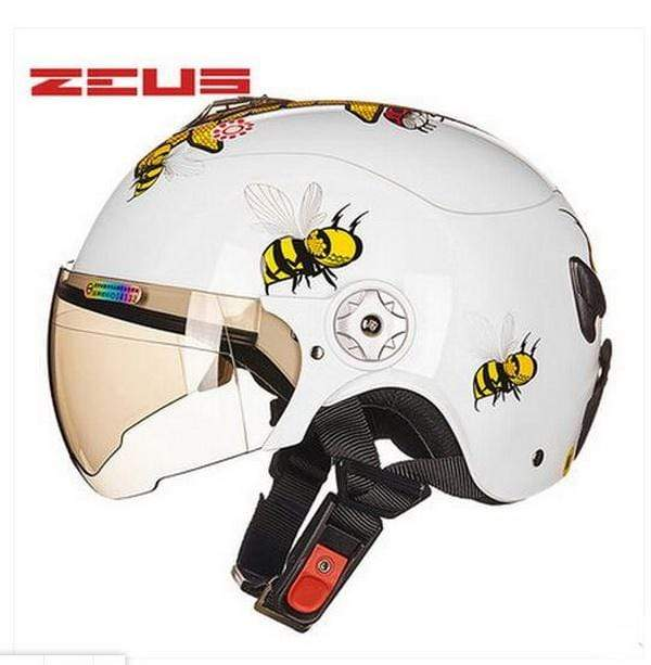 Trivoshop.com White / S Newest ZEUS children motorcycle helmet child ABS half face Motorbike electric bicycles for Bee pattern 4 colors size S M