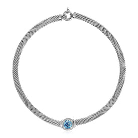 "Trivoshop Jewelry 17"" Popcorn Texture Necklace with Blue Topaz and Diamonds in Sterling Silver"