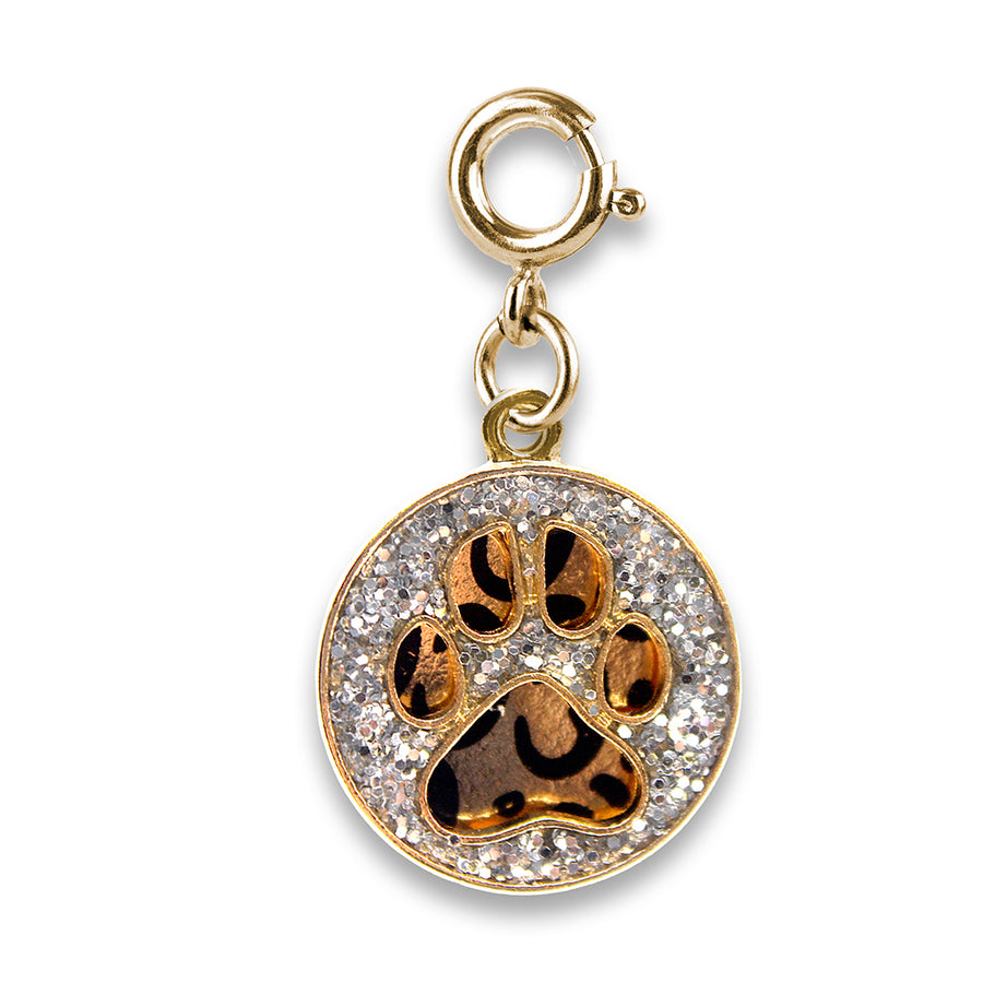 Gold Swivel Leopard Pawprint Charm