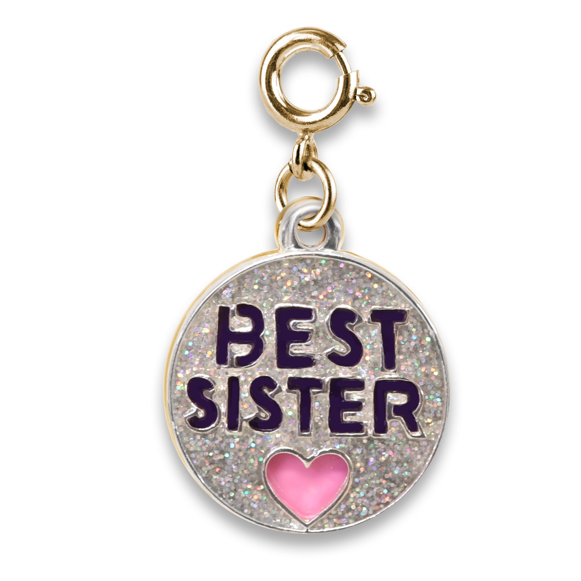 Shop Gold Glitter Best Sister Charm