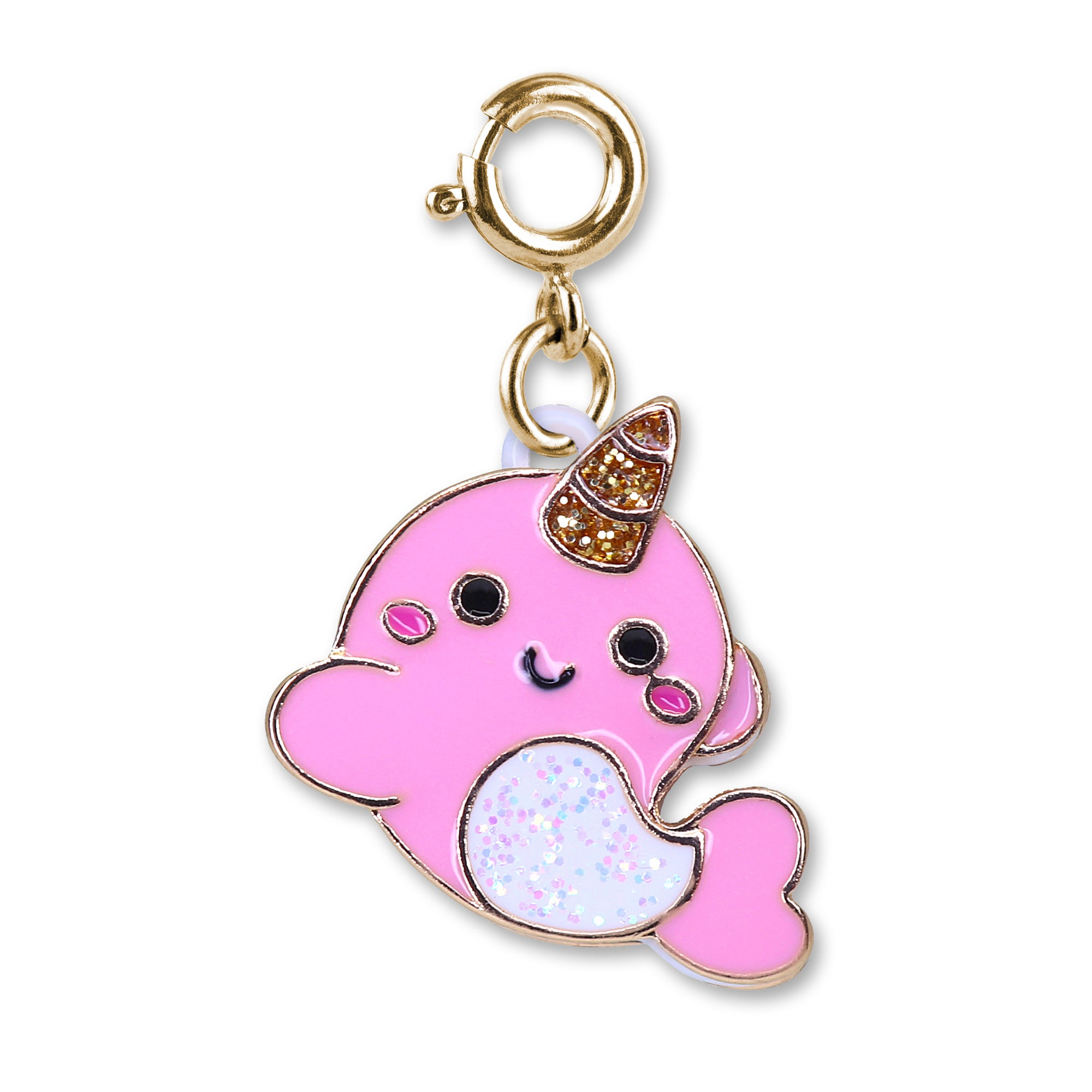 Gold Glitter Narwhal Charm - shopcharm-it