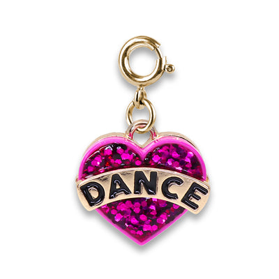 Gold Glitter Dance Heart Charm - shopcharm-it
