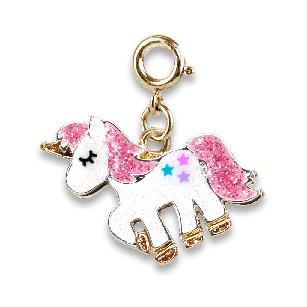Gold Glitter Unicorn Charm