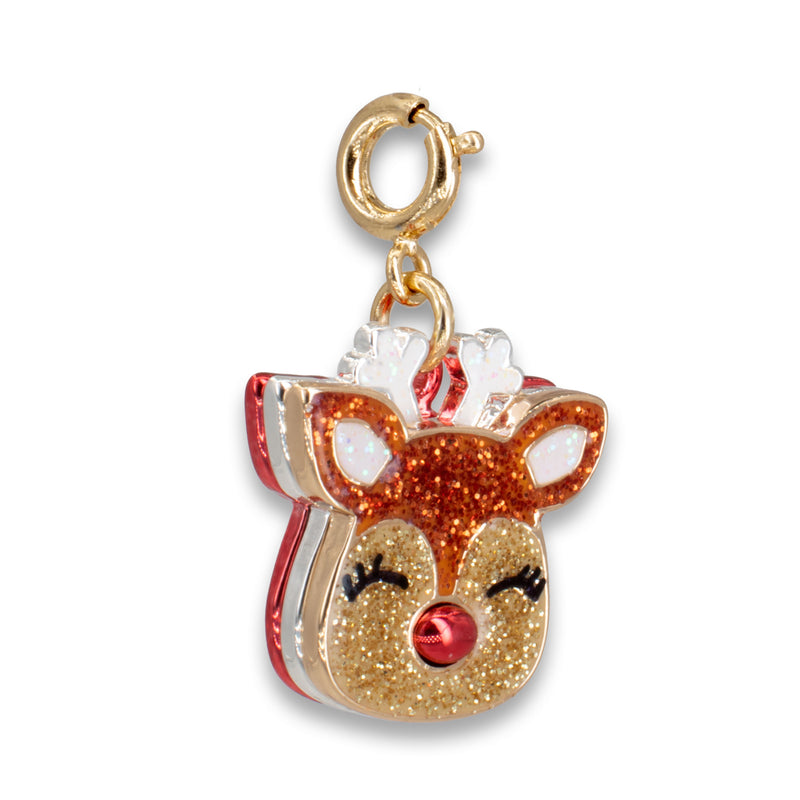 CHARM IT! Gold Glitter Reindeer Charm
