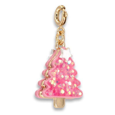 Gold Pink Christmas Tree Charm