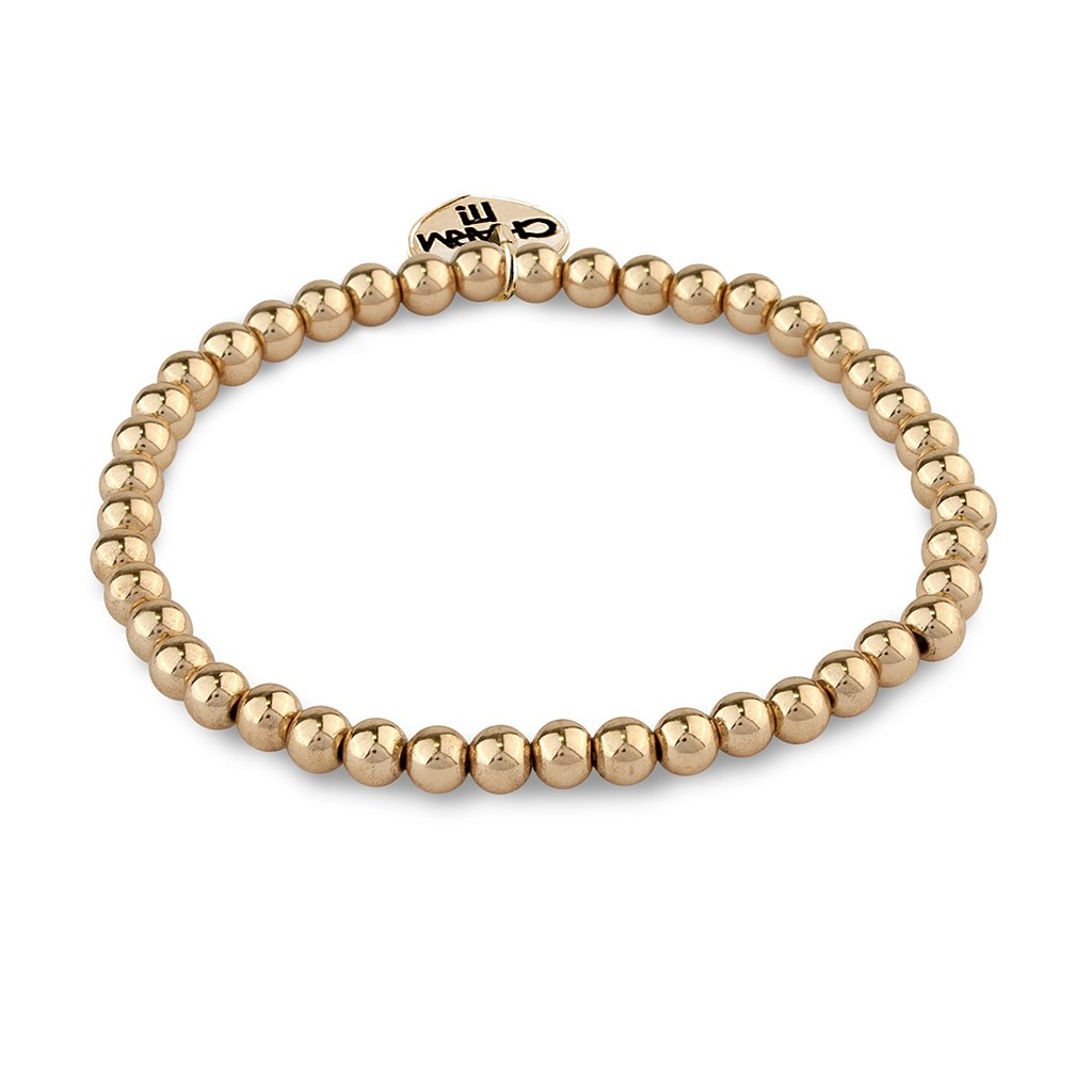 Gold Bead Stretch Bracelet - Just Add Charms!