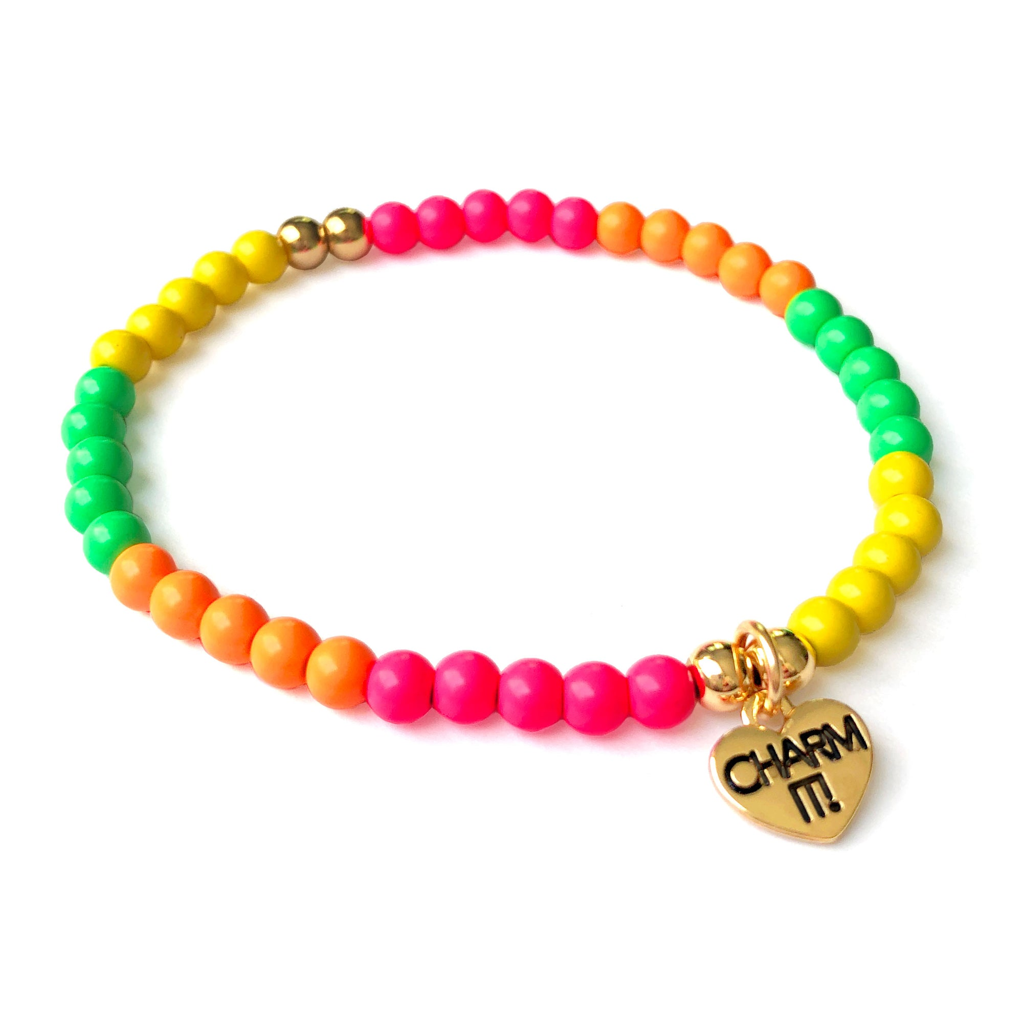 CHARM IT! 4mm Neon Stretch Bead Bracelet