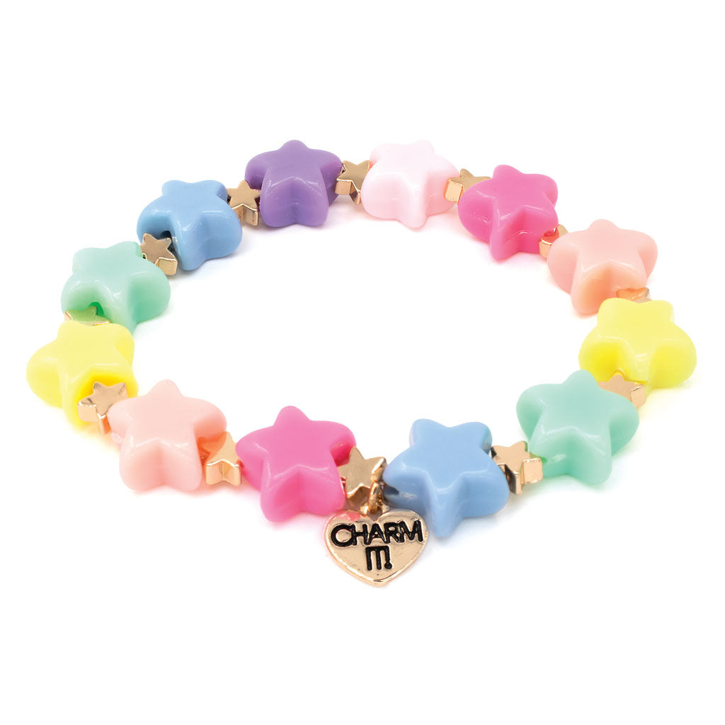 Gold Pastel Star Stretch Bead Bracelet
