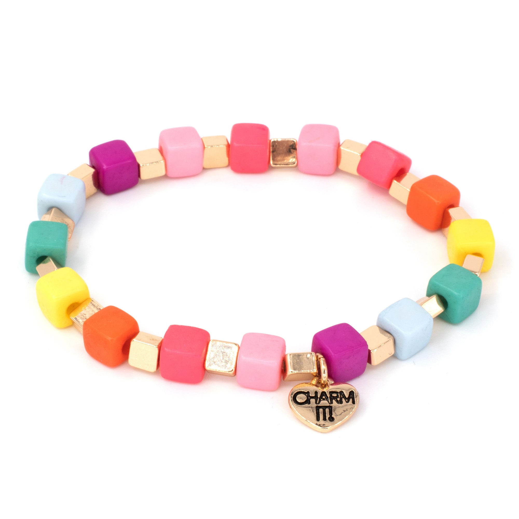 Gold Multi Cube Stretch Bead Bracelet