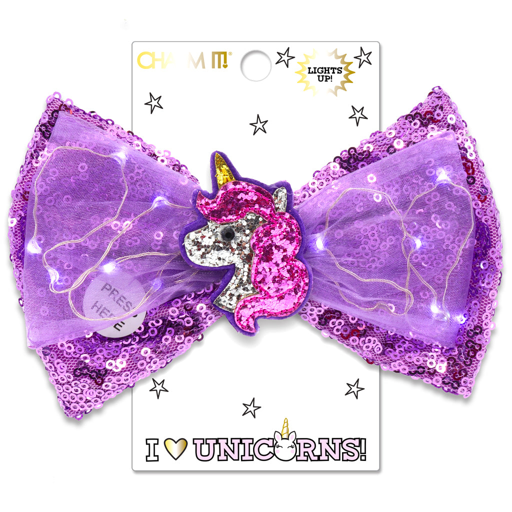Unicorn LED Sequin Bow - shopcharm-it
