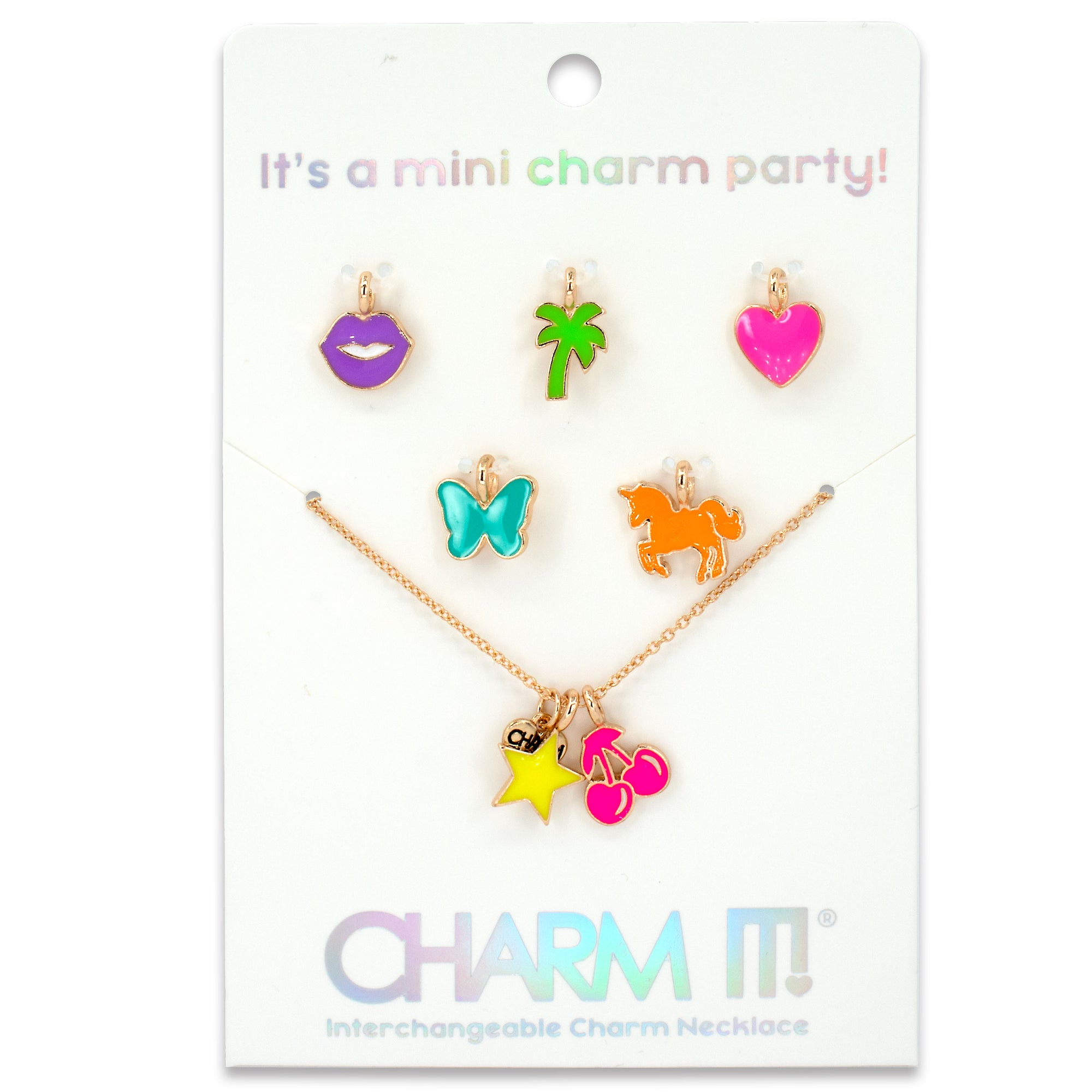 Gold Neon Mini Charm Necklace