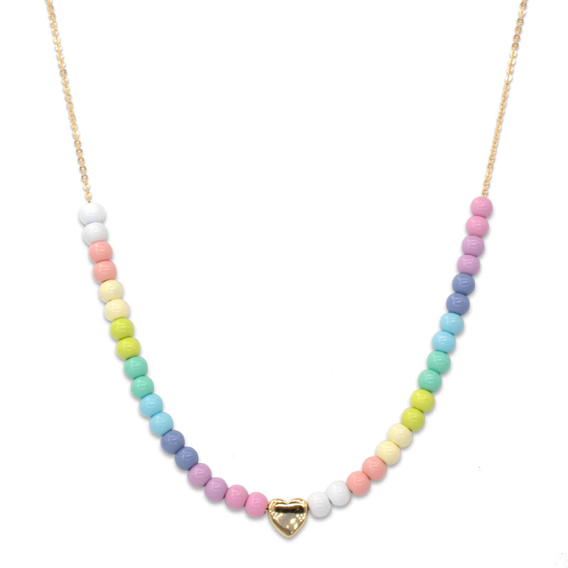 4mm Gold Pastel Bead Necklace