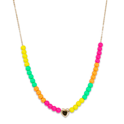 4mm Gold Neon Bead Necklace