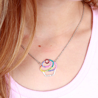 CHARM IT! Rhinestone Cupcake Necklace - shopcharm-it
