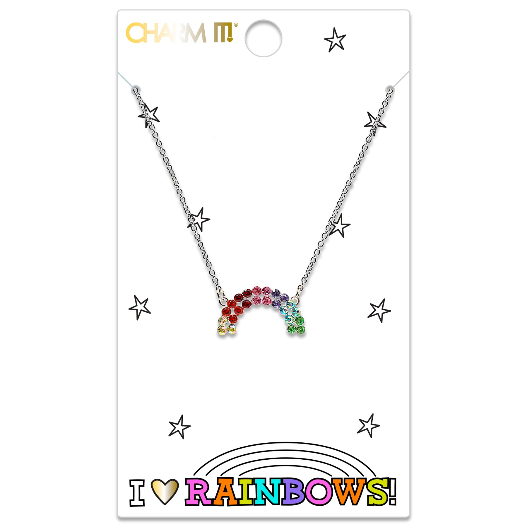CHARM IT! Rhinestone Rainbow Necklace