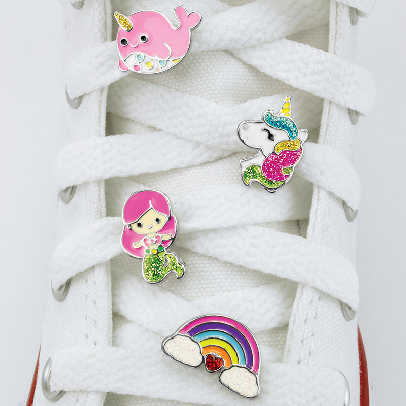 CHARM IT! Magical Shoelace Charms includes a Unicorn Shoelace Charm, a Rainbow Shoelace Charm, aNarwhal Shoelace Charm and a Mermaid Shoelace Charm