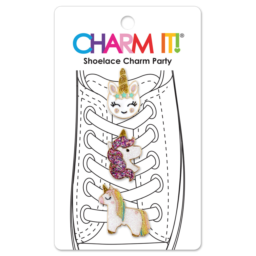 CHARM IT! Unicorn Shoelace Charms includes 3 Glitter Unicorn Shoelace Charms