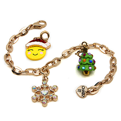 Girls Gold Santa Emoji Charm